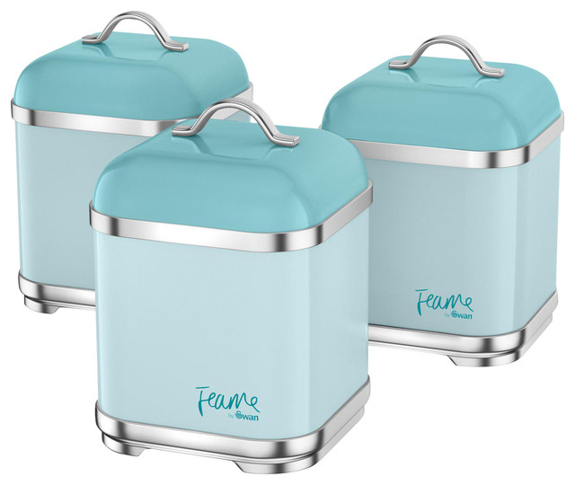 Stainless Steel Canisters, Peacock, Set of 3