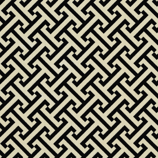 Black Off White Greek Key Geometric Outdoor Indoor Upholstery Fabric
