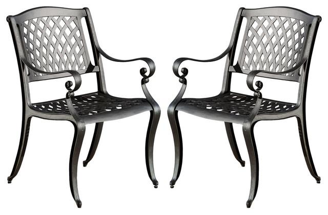 GDF Studio Marietta Outdoor Cast Aluminum Dining Chairs, Set of 2
