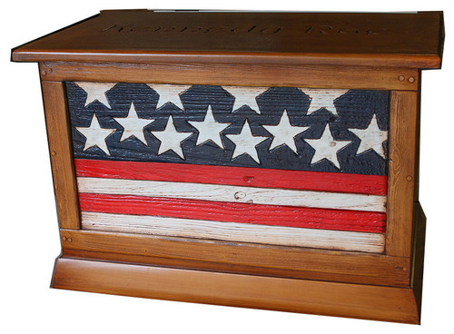 Wooden Storage Chest With American Flag Pattern