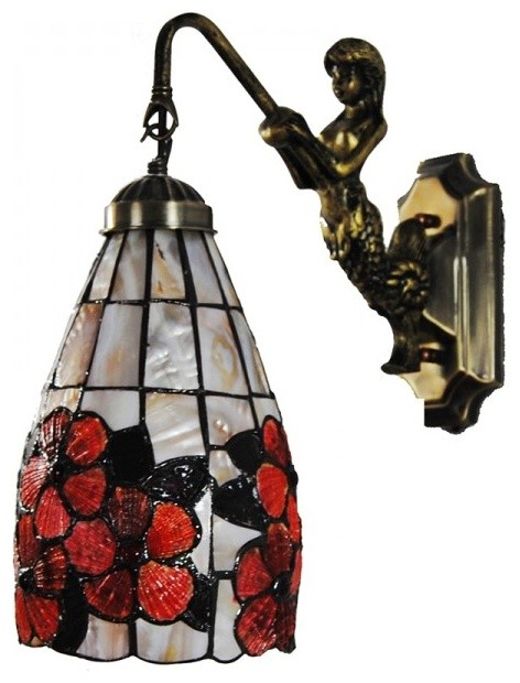 Traditional Indoor Wall Sconces : Tiffany Sea Shell Floral Wall Sconces Lights for Indoor - Traditional - Wall Sconces - by ...