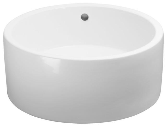 Ronbow Essentials Cask 17 Round Ceramic Vessel Bathroom Sink, White.