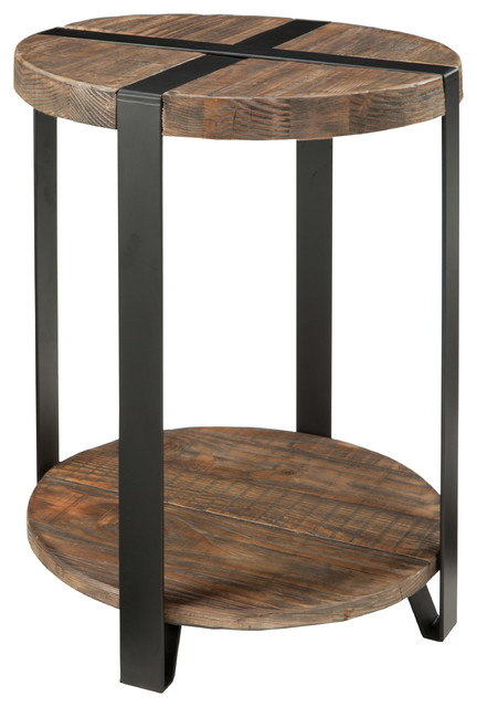Delightful Reclaimed Wood Round End Table, Rustic Natural Industrial Side Tables And