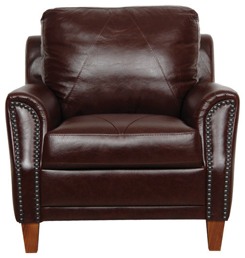 Charmant Genuine Italian Leather Chair In Sienna