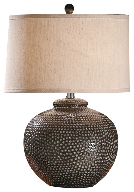 Hammered Ceramic Pot Table Lamp.