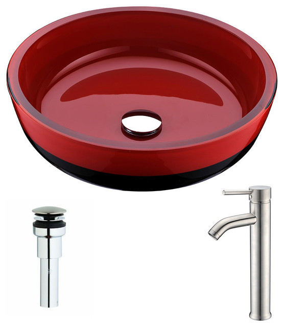 Schnell Series Deco-Glass Vessel Sink, Lustrous Red And Black, Fann Faucet.