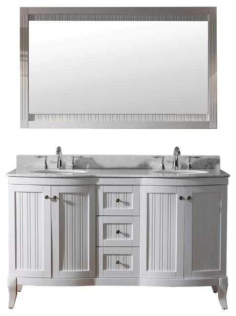 "Khaleesi 60"" Double Bathroom Vanity Set, White."