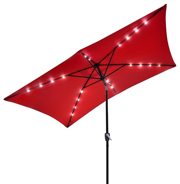 10x6.5 &x27; 20 Leds 6 Ribs Patio Solar Led Umbrella Tilt, Red.