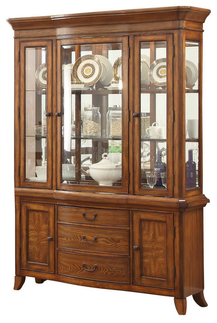 Merveilleux Homelegance Keegan II Buffet And Hutch In Warm Oak