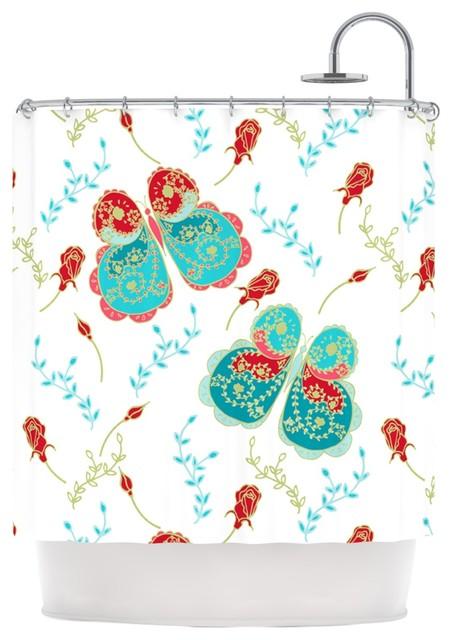 Anneline Sophia Leafy Butterflies Red Aqua Butterfly Shower Curtain