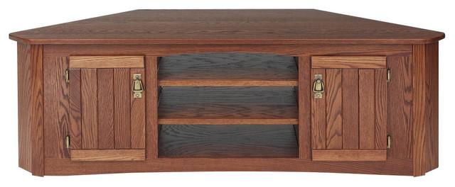 Bon Mission Style Solid Oak Corner TV Stand With Cabinet, Autumn Oak