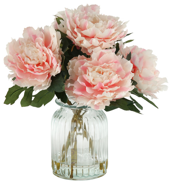 DampW Silks Pink Peonies In Ribbed Glass Vase Traditional