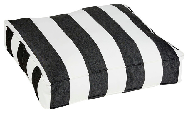 Cabana Sunbrella Outdoor Floor Pouf, Black And White Stripe.