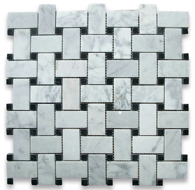 12x12 Carrara White Basketweave Mosaic, Black Dots Polished, Chip Size: 1x2.