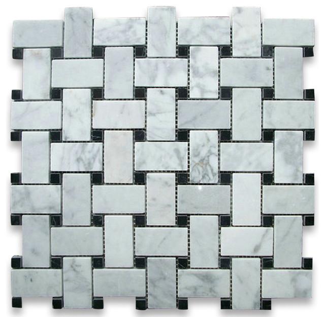 12 X12 Carrara White Basketweave Mosaic Black Dots Polished Chip Size