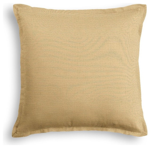 Decorative Pillow Trim : Warm Beige Slubby Linen Pillow With Tan Trim - Contemporary - Decorative Pillows - by Loom Decor