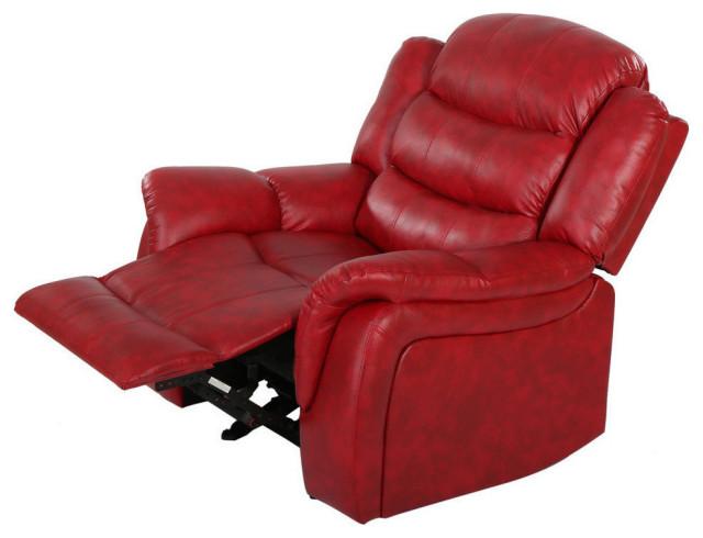 GDF Studio Hidal Red Glider Recliner Chair