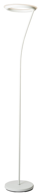 """73"""" Tall Metal Torchiere Floor Led Lamp With Halo Design, Matte White Finish."""