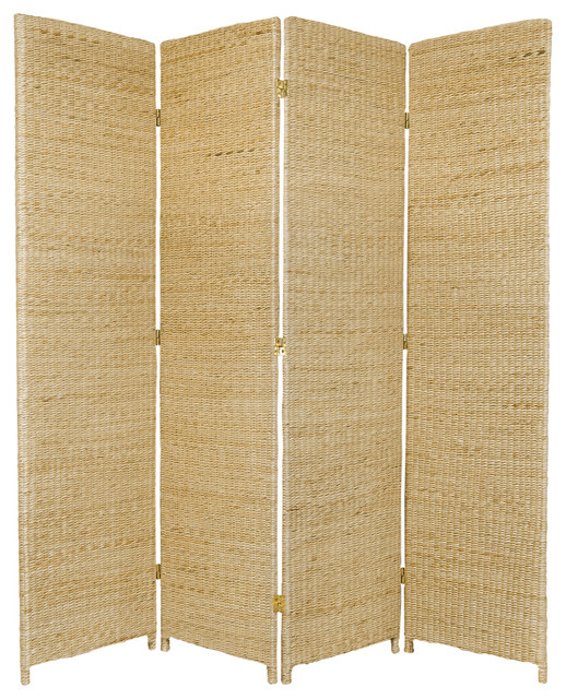 6' Tall Rush Grass Woven Room Divider, 4 Panel, Natural