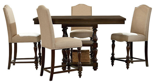 """Wakefield Oak Brown 5-Piece Square Dining Set With 42"""" Extendable Pub Table."""