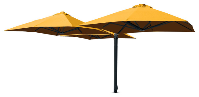 9&x27;10 Square Trio Buttercup Umbrella, Surface Plate And Led Lights.