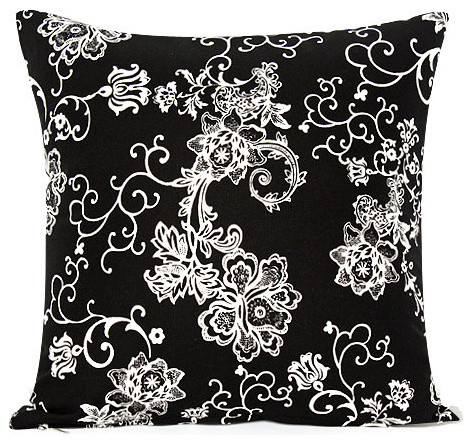 floral swirl accent throw pillow cover black and white contemporary decorative pillows - Black Decorative Pillows