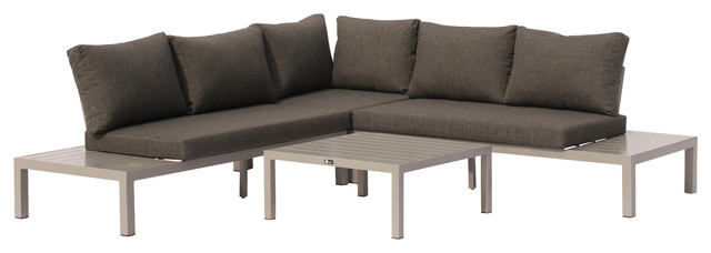 Osborne Silver Aluminum Outdoor 4 pc Sectional with Cushions