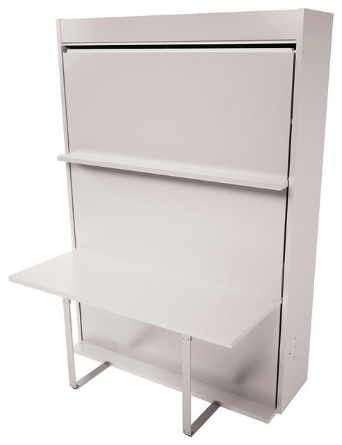 Bellezza T Queen Wall Bed With Table, Semi-Gloss White.