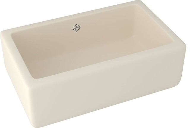 """Rohl Rc3018 Shaws 30"""" Single Basin Farmhouse Fireclay Kitchen Sink, Parchment."""