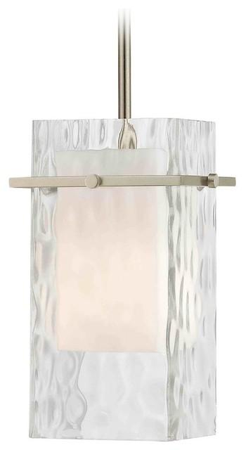Satin Nickel Mini Pendant Light With Water Gl