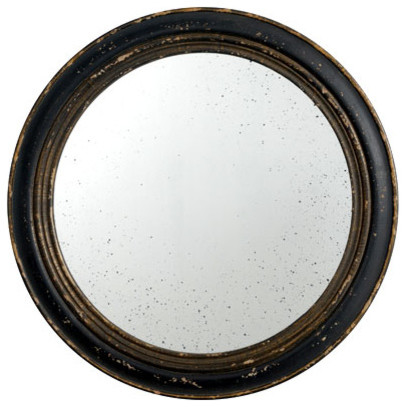 Antiqued Wood Frame Round Mirror Black D23 5 Traditional Wall