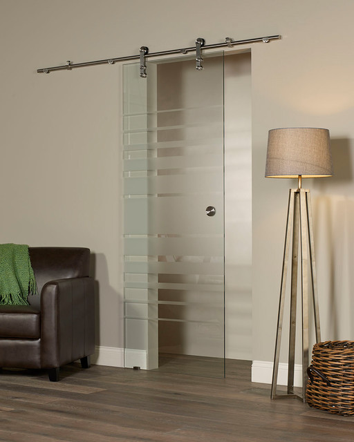 New Vision Silhouette Glass Barn Door Kit Contemporary Interior