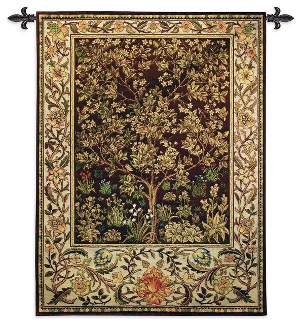 """Tree Of Life Umber Wall Tapestry, 53""""x40""""."""