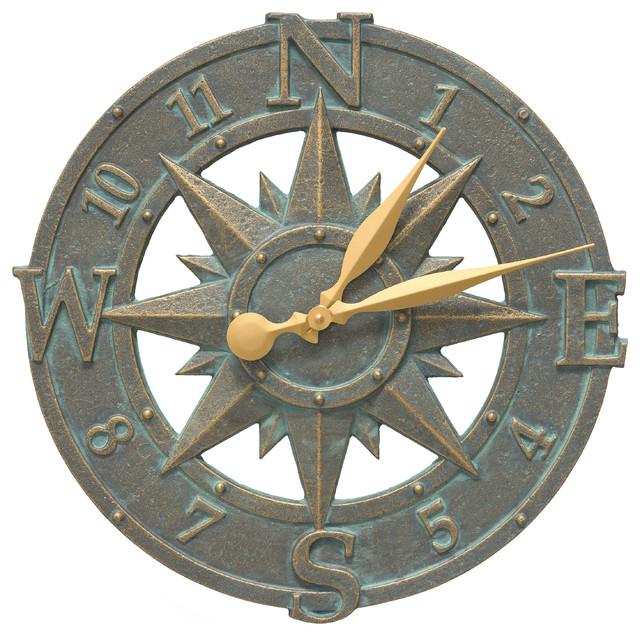 Compass Rose 16 Quot Indoor Outdoor Wall Clock Outdoor