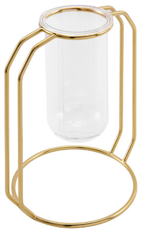 Glass Flower Vase Gold Small | Finesse Decor