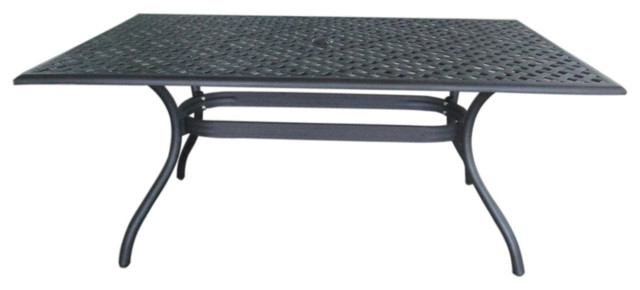 Taylor Sand Cast Aluminum Rectangle Table Black Transitional Outdoor Din