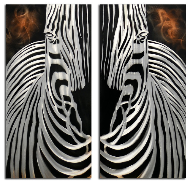 Zebra Wall Art zebra overlooking 2 piece handmade metal wall art sculpture