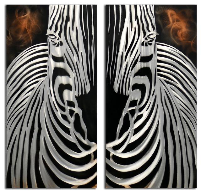 Exceptionnel Zebra Overlooking 2 Piece Handmade Metal Wall Art Sculpture  Contemporary Metal Wall