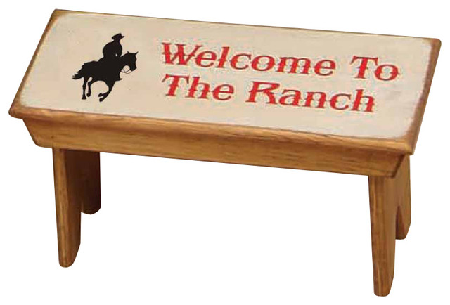 Welcome To The Ranch Rustic Western Bench Rustic Artwork By Mybarnwoodframes Decor Inc
