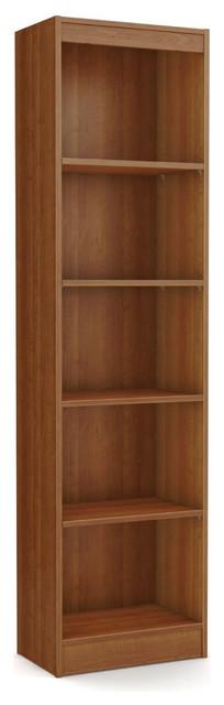 "Cherry Wood Finish 71"" Tall Skinny 5-Shelf Space Saving Bookcase."