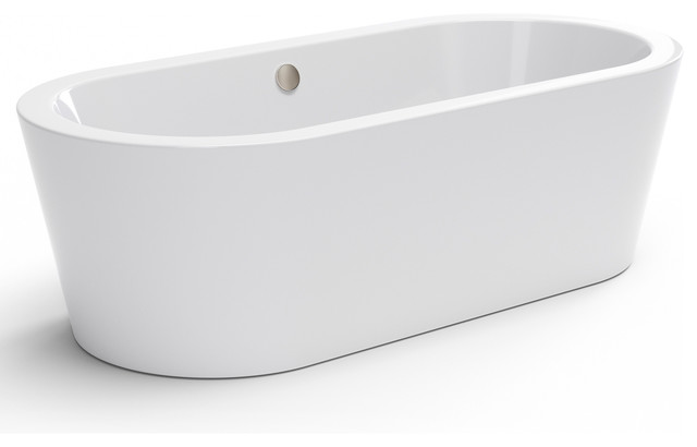 "pelham & white newcastle luxury 67"" modern freestanding tub, nickel"