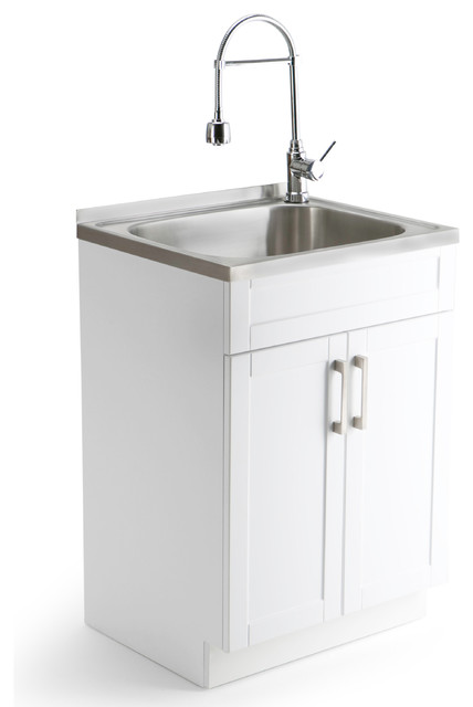 Simpli Home Hennessy Laundry Sink Cabinet With Faucet