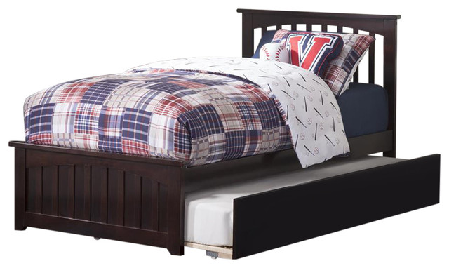 Mission Twin Bed With Matching Footboard And Urban Trundle Espresso