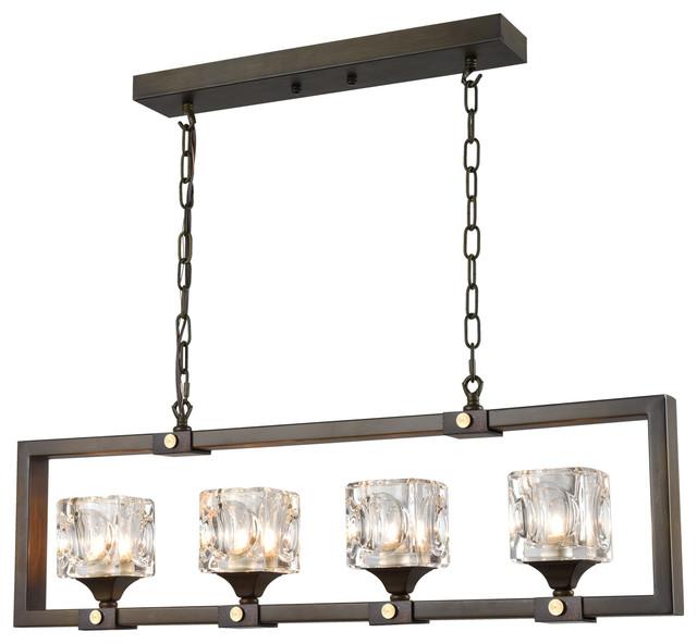 Modern Dark Brown Rectangular Chandeliers Large Glass Pendant Lighting