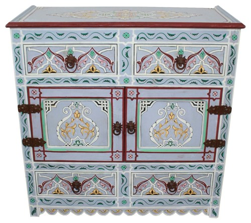 Moroccan Hand-Painted Wooden Cabinet, Lavender
