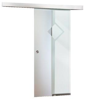 Modern Ice Frosted Glass Sliding Barn Door Sandblasting / Semi-Private - Contemporary - Interior ...