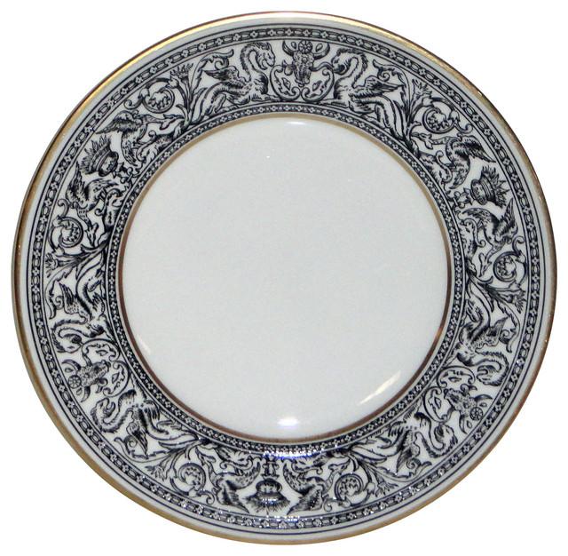 Wedgwood Florentine Black W4312 Salad Plate Traditional