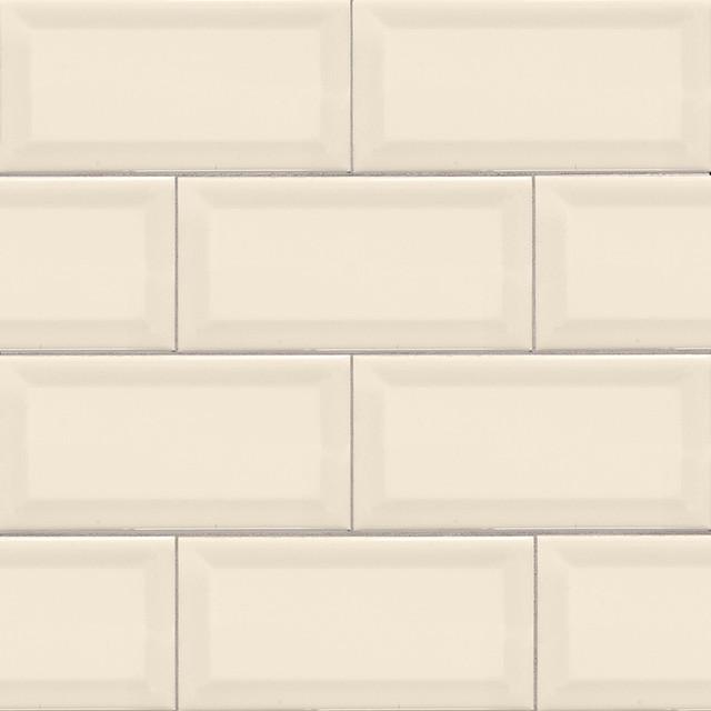 "3""x6"" Almond Beveled Glossy Subway Tile, Set Of 240."