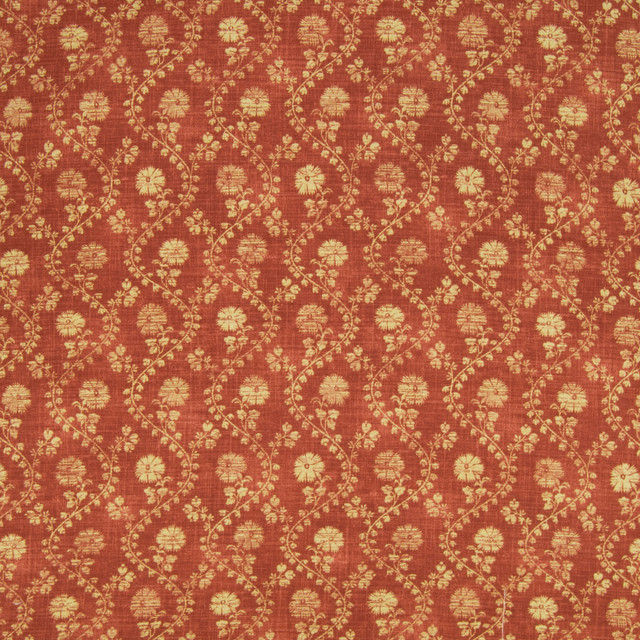 Ginger Orange Floral Print Upholstery Fabric By The Yard
