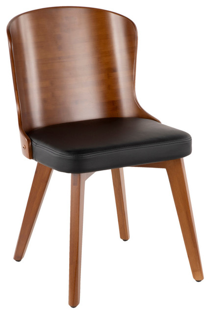 Lumisource Bocello Chair, Walnut and Black PU Leather